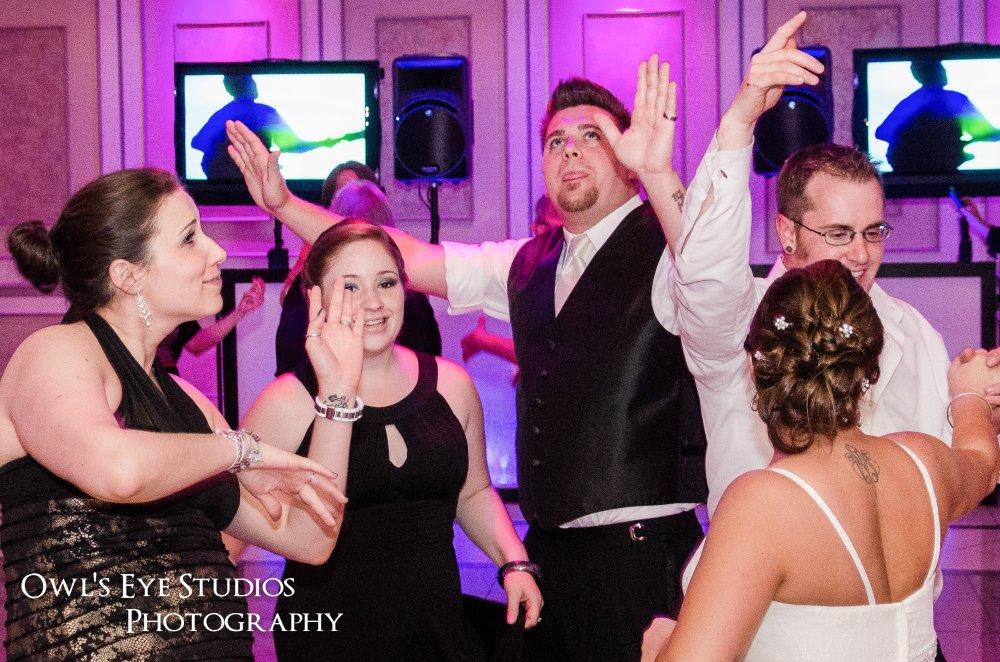 Hudson Valley Wedding DJ Bri Swatek Dance Party TVs Villa Borghese Owl's Eye Studios CGST