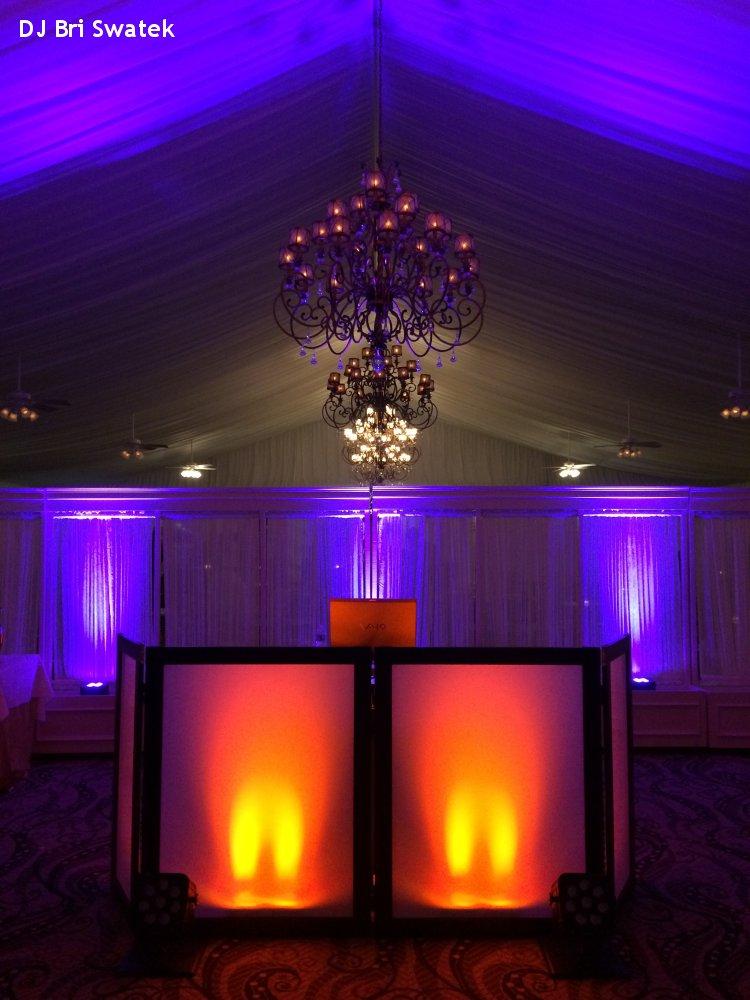 Hudson Valley Wedding DJ Bri Swatek Purple and Orange Uplighting at West Hills Country Club
