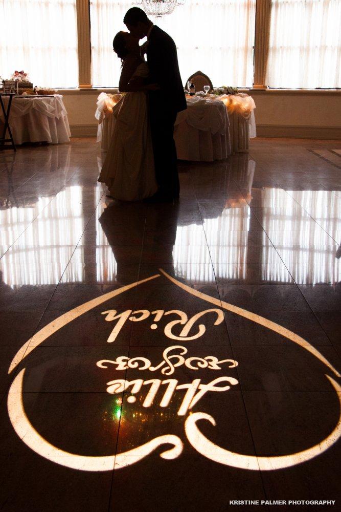 Hudson Valley Wedding DJ Bri Swatek Signature Gobo Light Villa Borghese Kristine Palmer Photography AMRM
